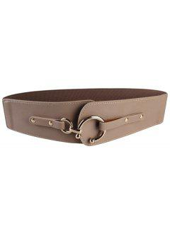 Metal Round Buckle Faux Leather Wide Waist Belt - Dark Khaki