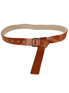 Metal Buckle Decorated Faux Leather Skinny Belt - Chocolate