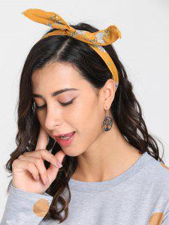Vintage Flower Print Headband - Yellow