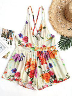 High Waist Backless Floral Cami Romper - Floral L