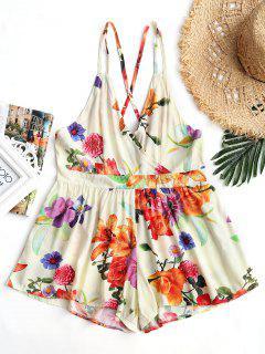 High Waist Backless Floral Cami Romper - Floral M