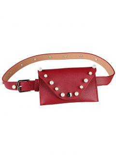 Pearl Funny Bag Embellished Faux Leather Skinny Belt - Red