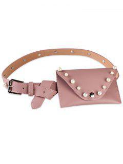 Pearl Funny Bag Embellished Faux Leather Skinny Belt - Pink
