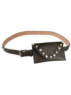 Pearl Funny Bag Embellished Faux Leather Skinny Belt - Blackish Green