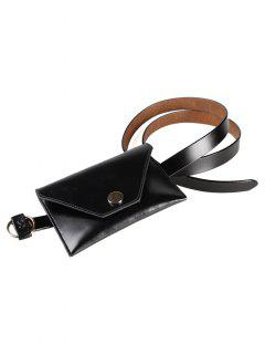 Removable Funny Bag Faux Leather Skinny Belt - Black