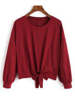 Camiseta De Manga Larga Con Dobladillo Bowknot - Vino Rojo S