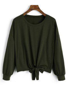 Long Sleeve Bowknot Hem Tee - Army Green M