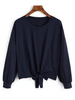 Camiseta De Manga Larga Con Dobladillo Bowknot - Azul Purpúreo S