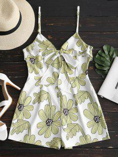 Floral Print Ruffles Cami Romper - Light Yellow S