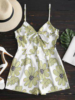 Volantes De Estampado Floral Cami Romper - Luz Amarilla L