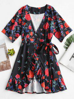 Plunging Neck Ruffles Floral Wrap Dress - Floral M