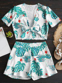 Tied Plunge Leaves Top And Shorts Set - Green S