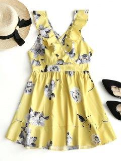 Mini Vestido Floral Con Volantes Y Espalda Cruzada De Criss Cross - Amarillo M