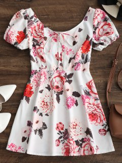 Half Buttpned Floral Flare Mini Dress - White S
