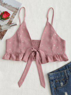 Tied Bowknot Dotted Ruffles Cami Top - Deep Pink M