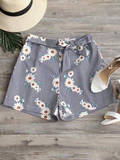 Sunflower Striped Tied Bowknot Shorts - Stripe L
