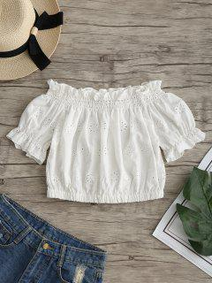 Ruffles Off Shoulder Hollow Out Crop Blouse - White S