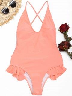 Bañador Cruzado De Una Pieza De Crisscross - Naranja Rosa L