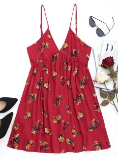 Floral Shift Mini Dress - Deep Red L
