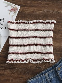 Smocked Stripes Tube Top - White M