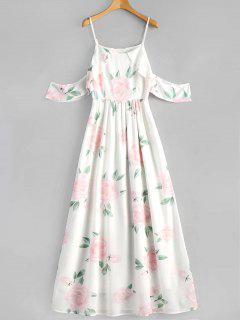 Robe Longue à Bretelles à Volants Imprimée Florale  - Blanc L