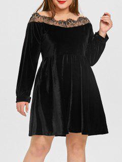 Robe à Empiècement En Velours De Grande Taille - Noir 4xl