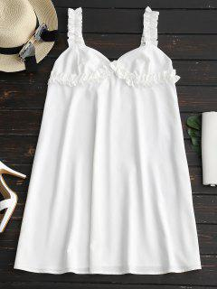 Sweetheart Neck Ruffles Trapeze Dress - White L