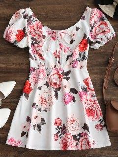 Half Buttoned Floral Flare Mini Dress - White L