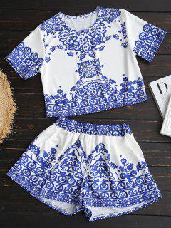 Printed Crop Top And Shorts Set - White M