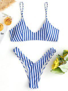 High Cut Cami Striped Bikini Set - Blue And White L