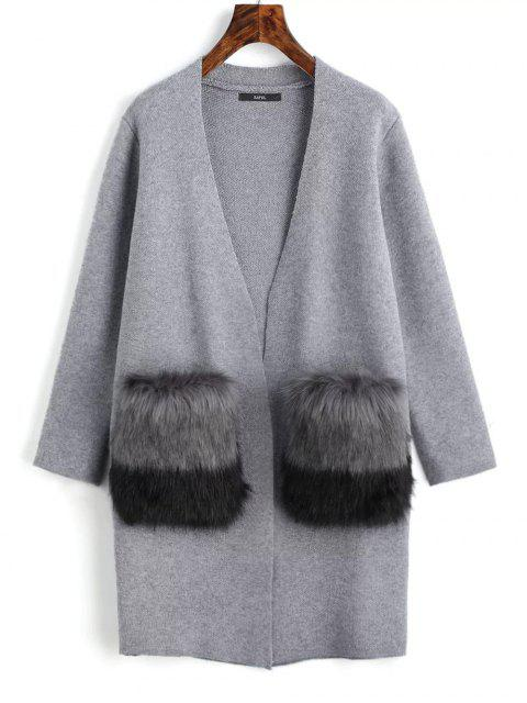 trendy Faux Fur Pockets Open Front Cardigan - GRAY ONE SIZE Mobile
