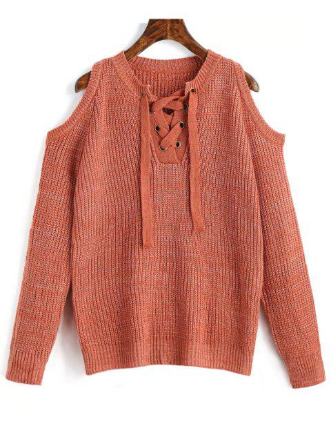 trendy Lace Up Cold Shoulder Chunky Sweater - ORANGEPINK ONE SIZE Mobile