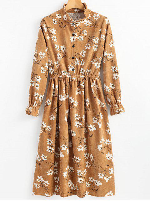 Vestido de pana floral con volantes - Jengibre 2XL Mobile