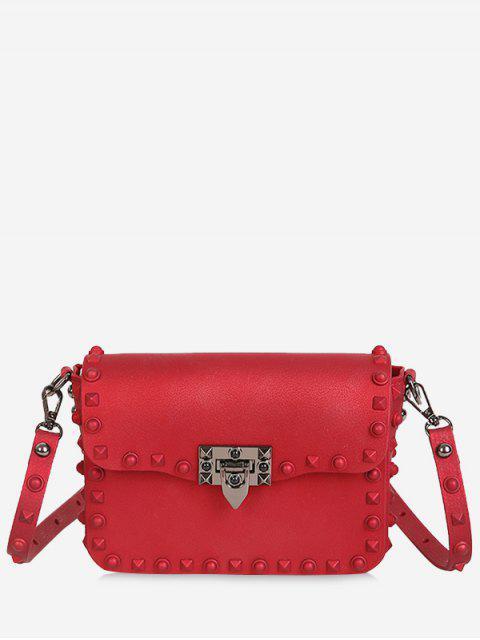 shops Metal Studs Flap Crossbody Bag - RED  Mobile