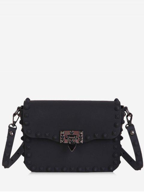 fancy Metal Studs Flap Crossbody Bag - BLACK  Mobile