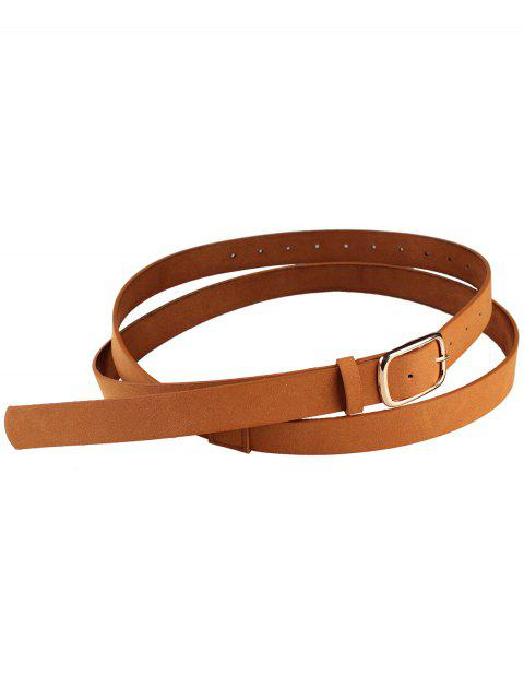 sale Metal Buckle Serpentine Pattern Skinny Belt - CHOCOLATE  Mobile