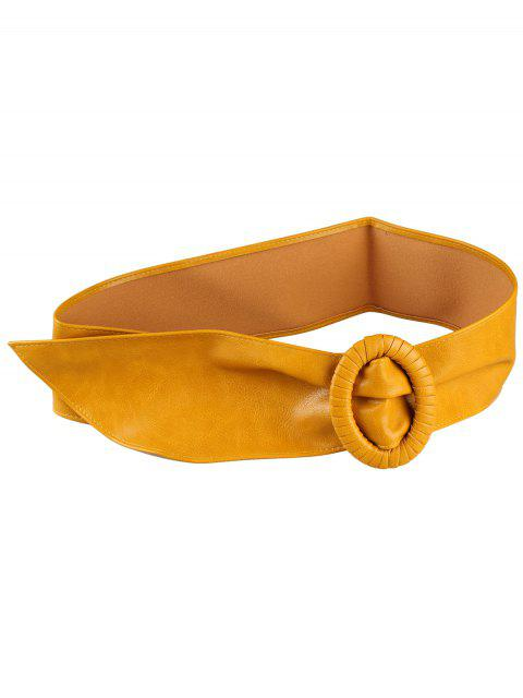 buy Unique Round Buckle PU Leather Wide Waist Belt - YELLOW  Mobile