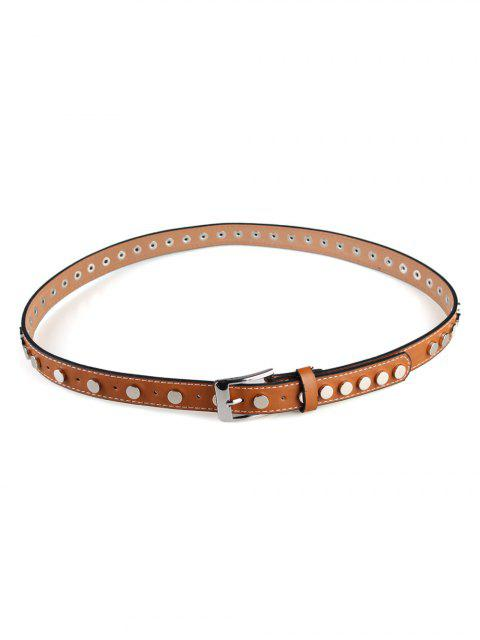 buy Metal Buckle Rivets Embellished Skinny Belt - CHOCOLATE  Mobile