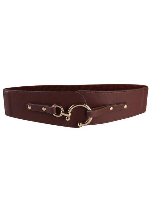 hot Metal Round Buckle Faux Leather Wide Waist Belt - CAPPUCCINO  Mobile