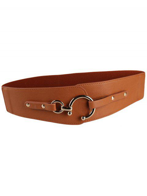 outfits Metal Round Buckle Faux Leather Wide Waist Belt -   Mobile