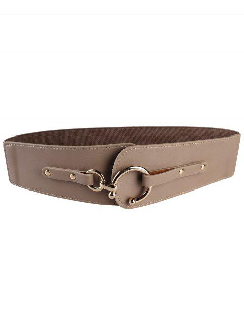 latest Metal Round Buckle Faux Leather Wide Waist Belt - DARK KHAKI  Mobile