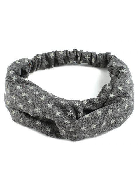 hot Vintage Star Printed Elastic Hair Band - GRAY  Mobile