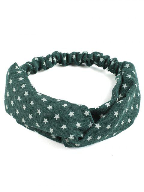 trendy Vintage Star Printed Elastic Hair Band - GREEN  Mobile