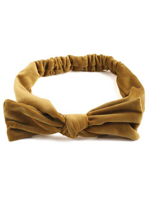ladies Vintage Bows Velvet Elastic Hair Band - YELLOW  Mobile
