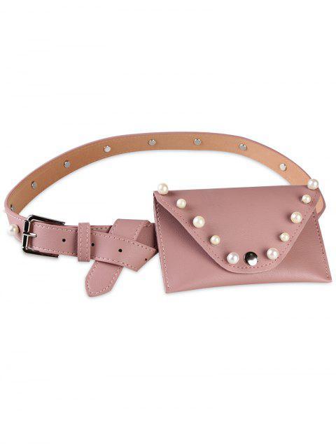 fashion Pearl Funny Bag Embellished Faux Leather Skinny Belt - PINK  Mobile