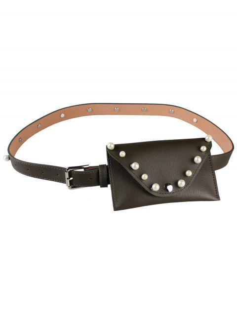 shops Pearl Funny Bag Embellished Faux Leather Skinny Belt - BLACKISH GREEN  Mobile
