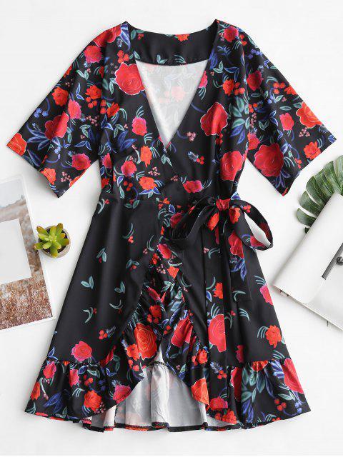 Tiefer Ausschnitt Rüschen Blumen Wickel Kleid - Blumen S Mobile