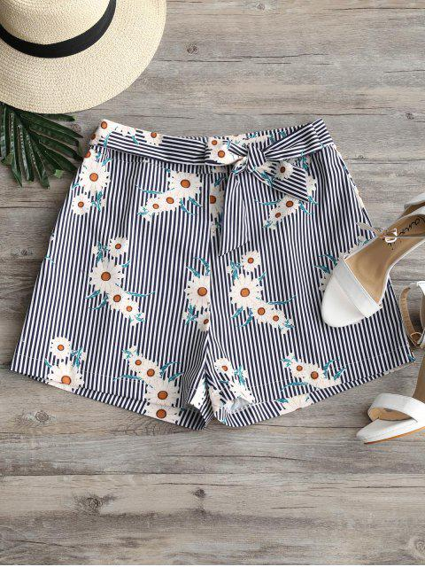 shop Sunflower Striped Tied Bowknot Shorts - STRIPE M Mobile