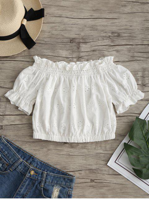 Rüschen Schulterfreie Ausgeschnitten Crop Bluse - Weiß L Mobile
