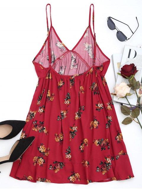 Minivestido Floral Shift - Rojo oscuro L Mobile